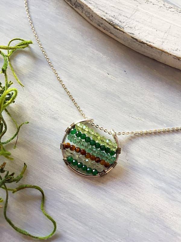 Dije elemento tierra, Brioletta Joyería Artesanal con gemas