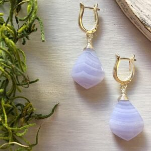 Aretes Agata Encaje Azul, Brioletta joyería artesanal con gemas