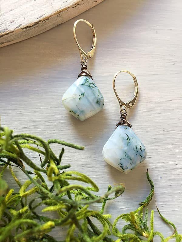 Aretes Agata Arbol, Brioletta joyería artesanal con gemas
